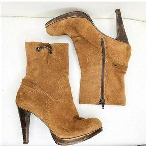 """Womens suede high heel boots 7.5 side zip 4"""" heel"""
